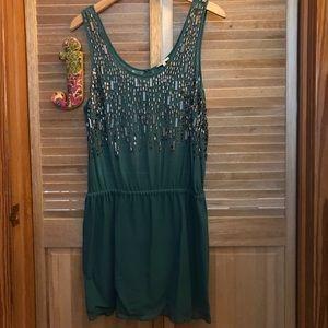 Joie beaded/embellished teal mini dress